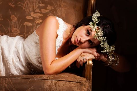 dramatic bridal photoshoot with babies breath head crown